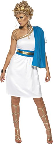 Smiffy's Women's Roman Beauty Costume with Dress Toga Belt and Headpiece, Blue/White, Large - Blue Toga Costumes For Women