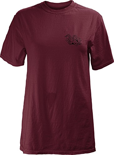 Three Square by Royce Apparel NCAA South Carolina Fighting Gamecocks Legacy Short Sleeve Garment Washed T-Shirt, X-Large, Garnet - South Carolina Logo Square