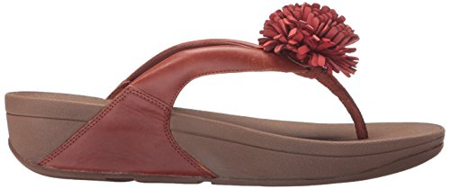 FitFlop Womens Flowerball Toe-Post Leather Sandals Dark Tan