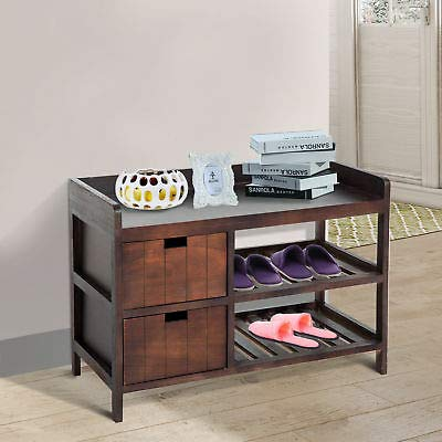Rustic Country Hall Entryway Small Shelf Bench Pull Out Drawers Slatted