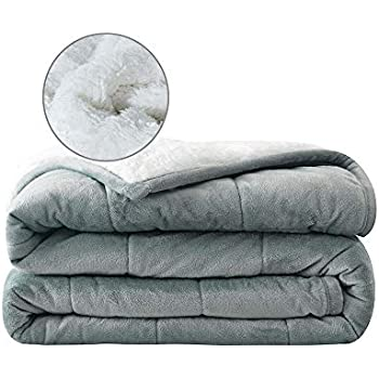 Syrinx Plush Weighted Blanket 15lbs, 60''x80'', Dark Grey/White Queen Size for Adults, Minky Sherpa Fleece Blanket with Glass Beads