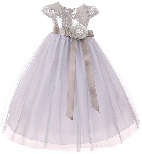 (Big Girls' Dress Cap Sleeve Sequin Bodice Flower Pageant Party Flower Girl Dress Silver Size 10 (K20K79))