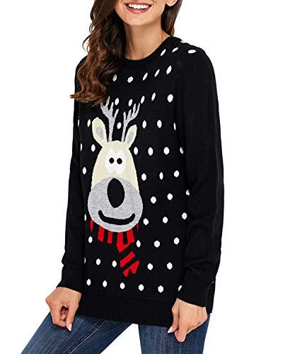 Cartoon color Maglioncino Uzanesx Pullover Top Renna Casual Size Di Black Red Natale Donna Da L Manica Lunga 7gqgdvw