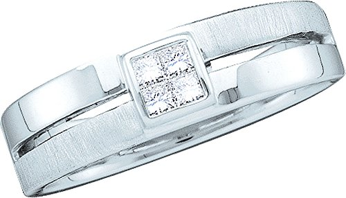 14kt White Gold Mens Princess Diamond 5mm Wedding Anniversary Band Ring 1/6 Cttw by JawaFashion