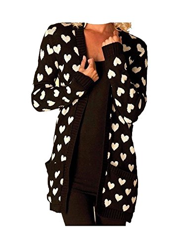 Rimi Hanger Womens Open Front Heart Printed Chunky Knitted Cardigan Ladies Long Sleeve Front Pockets Sweater Black 3X Large Black Heart Cardigan