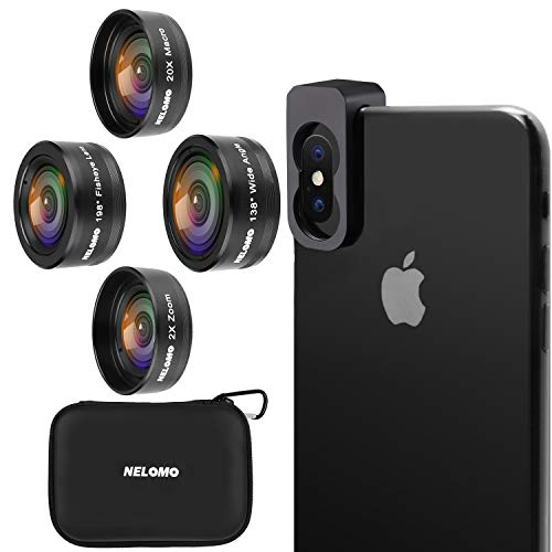 NELOMO Cellphone Camera lens 4 in 1 Phone Lenses Kit Compatible with Iphone XS XR X 8 Samsung Galaxy S9 S8 Huawei Mate P20 P10 20X Macro Lens, 2.0X Zoom Telephoto Lens, 138°Wide Angle Lens, 198°Fishey