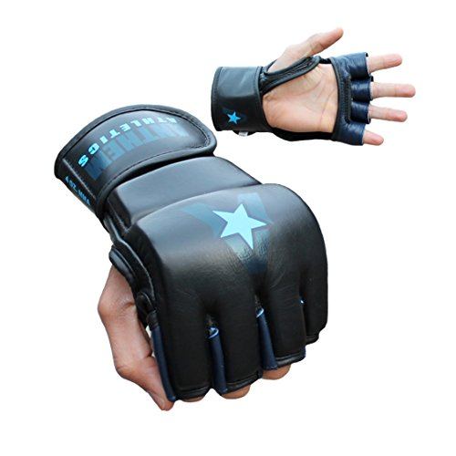 Anthem Athletics PREDATOR MMA Gloves - Training, Kickboxing, 100% Highest Grade Leather - Black, Navy & Blue - Small