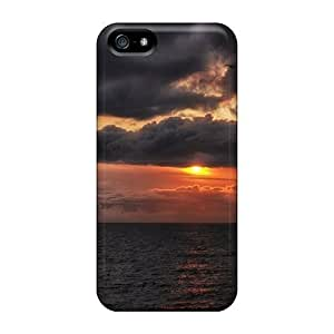 Slim Fit Tpu Protector Shock Absorbent Bumper Sunset Clouds Landscapes Sun Seascapes Case For Iphone 5/5s