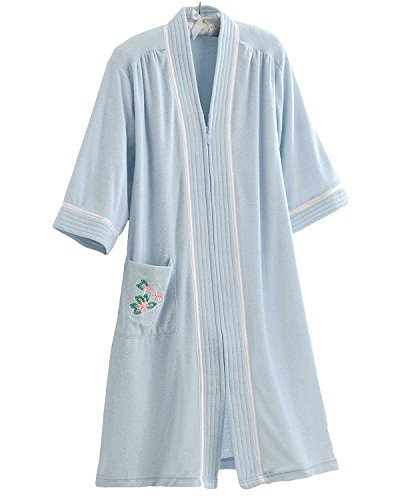 National Soft Knit Terry Lounger, Blue, Large - Misses, Womens (Womens Plus Size Robes)
