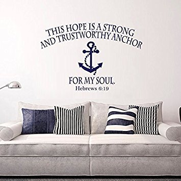 Wall Decal Decor Bible Verse Wall Decal - Hope Anchors The Soul Hebrews 6:19 Wall Decals Nautical Anchor Scripture Vinyl Lettering Home Decor (navy blue, 22