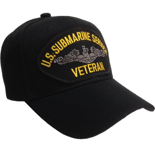U.S. Submarine Service Veteran Ball Cap Hat US Navy - Black (Submarine Hats)