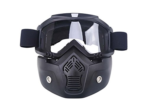 Junson Cycling Retro Face Mask Goggles for Open Face Helmet Off-Road Riding Full Face Goggles Removable Goggles(Transparent) for Sports by Junson