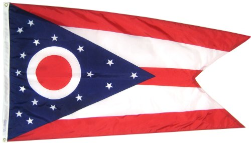 Annin Flagmakers Model 144260 Ohio State Flag 3x5 ft. Nylon SolarGuard Nyl-Glo 100% Made in USA to Official State Design Specifications.