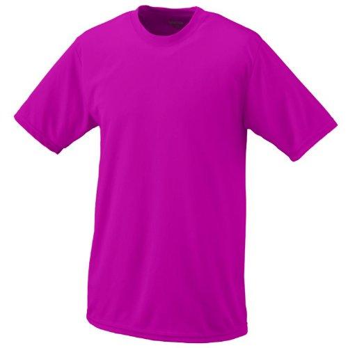 (Power Pink, Adult 2XL Performance Wicking Moisture Management Short Sleeve Cool & Comfortable Crewneck Shirt)