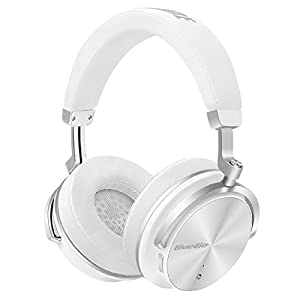 Bluedio T4 (Turbine) Active Noise Cancelling Bluetooth Headphones with Mic Over-ear Swiveling Wired and Wireless headphones Headset for Cell Phone/TV/PC bass fashion (White)