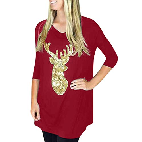 - Sttech1 Women Deer Head Sequined Long Sleeve Pullover Top Reindeer Xmas Blouses Red