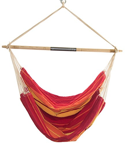 Cheap Byer of Maine Brazil Gigante Hanging Hammock Chair, Indoors and Outdoors, Recycled Cotton/Polyester Blend Canvas, Handwoven, Lava Red, 78″ L X 55″ W, Holds up to 400lbs