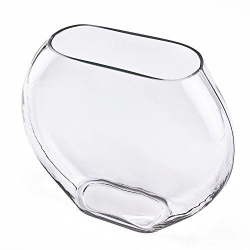 (CYS EXCEL Oval Vase, Moon Shape Glass Vase. (Moon Shape. H:11