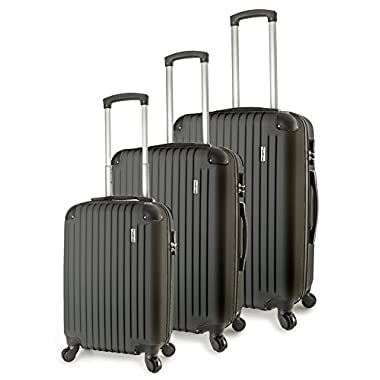 TravelCross Columbia Luggage 3 Piece Lightweight Spinner Set - Dark Gray