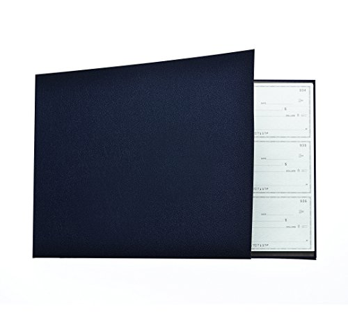 Business Check Binder for 3 On A Page Checks - 7 Ring Executive Binder with Stationary Storage Pouch, Calendar, Pen and Card Holders, Blue - Executive Checkbook Cover