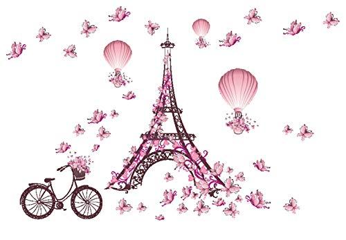 Ferris Store Paris Tower Pink Cute Butterflies Art Decor Home Bedroom Living Room Background Waterproof Wall Stickers 39x26