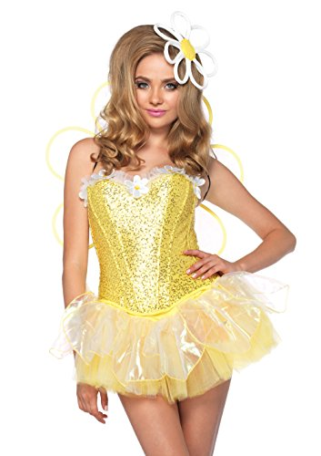 (Leg Avenue Women's 4 Piece Daisy Doll Costume with LED light up Headpiece, Yellow,)