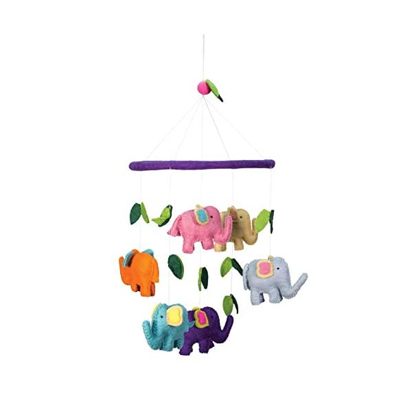 Multi-Colored Elephants Theme – Hanging Baby Nursery Decor Crib Mobile – Handmade 100% Natural Felted Wool (Purple)