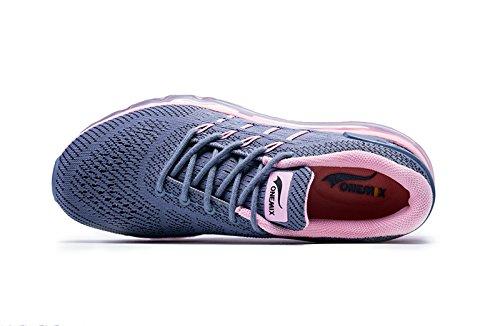 del ocasionales Zapatillas de respirable Rosa las Zapatos atléticas Oscuro malla de mujeres planos Gris los de de deportivos Onemix la deporte Air vfxZZq