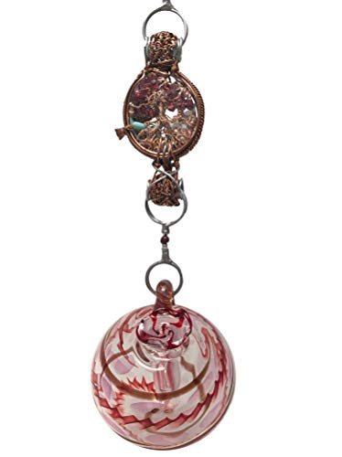 Double Blown Glass Hummingbird Feeder - Blown Glass Hummingbird Feeder with Hummingbird Charm and Gemstones on a Handcrafted Chain, Garnet Garden