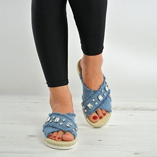 Brand New Womens Flat Diamond Sandals Ladies Girls Slippers Slip On Peep Toe Summer Fashion Casual Shoes Size Uk 3-8 Light Blue wTAVCR