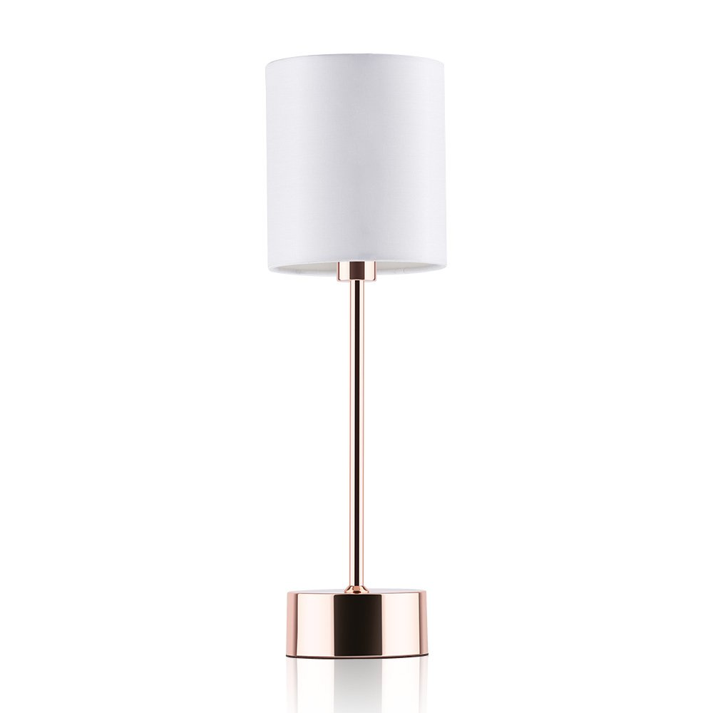 AUSHEN Simple Designs Desk Lamp,Rose Gold Lamp,Metal Table Lamp with Fabric Shades Reading Lamps Bedroom Lamps (White)