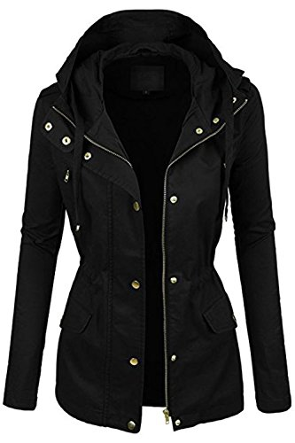 FASHION BOOMY Womens Zip Up Military Anorak Jacket W/Hood (Medium, H-24-BLACK)