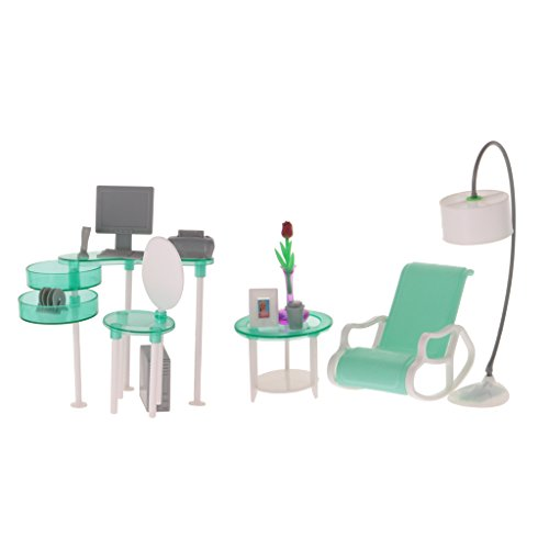 Dovewill 1:6 Dolls Furniture Computer Room Net Lounge Play Set for Barbie Doll Toys