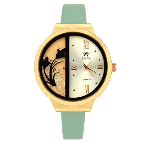 (LUXISDE Watch Women SHIKAI Ladies Leather Strap Creative Gift Quartz Watch ZYBSK-66 Lady Collection Green)
