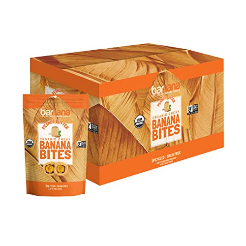 Organic Peanut Butter Chewy Banana Bites - 3.5 Ounce (12 Count) - Delicious Barnana Coated Potassium Rich Banana Snacks - Lunch Dinner Sports Hiking Natural Snack - Whole 30, Paleo, Vegetarian