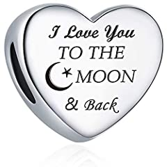 """♩About MallDou Jewelry Engraved """"I Love You to the Moon and Back"""", love heart charms fit snake chain Pandola bracelets and necklaces ,women's jewelry ,best birthday gifts ♪Brand Position MallDou jewelries are designed by French jewelry design..."""