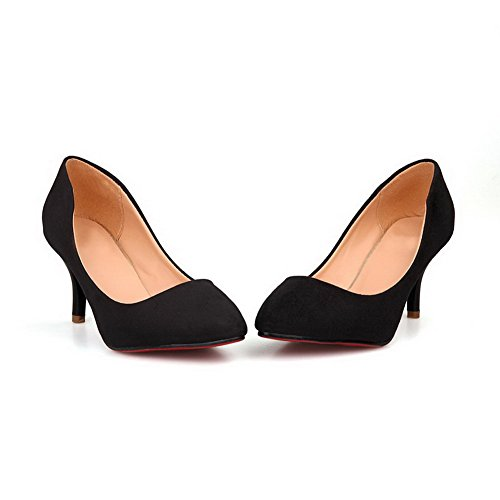 Maymeenth Womens Closed Toe Pointed Toe Kitten Heel PU Frosted Solid Pumps, Black, 7.5 B(M) US