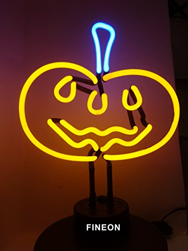 (Prang-US Pumpkin Neon Sculpture 10×8 inch, Real Neon Signs Made with Glass Tubes, Brilliant Neon Lamps. Eye-catching Neon Beer Sign.)