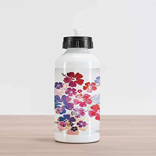 Lunarable Hawaiian Aluminum Water Bottle, Exotic Floral Island Theme Tropical Hawaii Flowers Pattern Print, Aluminum Insulated Spill-Proof Travel Sports Water Bottle, Purple Pale Pink and Orange