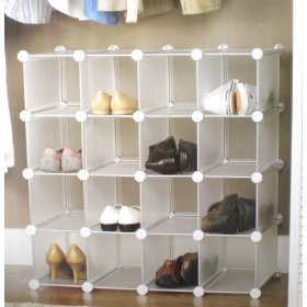 Interlocking Shoe Organiser 16 Cube Storage Multipurpose