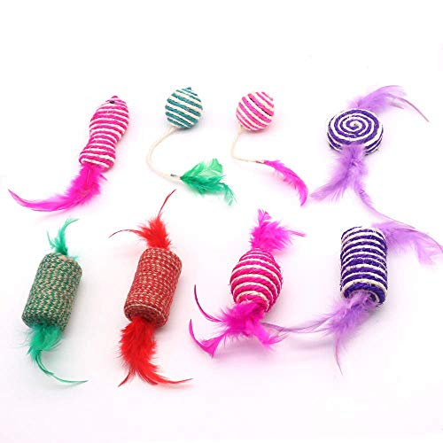 SLSON 8PCS Cat Sisal Toys Set Kitten Toys Assortments, Interactive Feather Teaser Colorful Balls Cylinder Fish Candy Shape for Cat Puppy Kitten