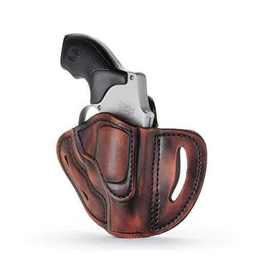 (1791 GUNLEATHER J-Frame Revolver Holster - OWB CCW Holster - Right Handed Leather Gun Holster for Belts - Fits All J-Frame Revolvers Including S&W and Ruger LCR not Taurus (RVH-1) (Vintage) )