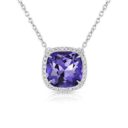 Alantyer Birthstone Necklace Made with Square Swarovski Crystal for Women and Girls,Amethyst (February Birthstone)