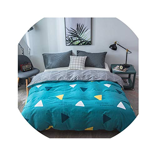 HANBINGPO Modern Style Leaf Pattern Cotton Duvet Cover Plaid Stripes Quilt Cover Skin Care Cotton Bedclothes 150x200cm/200x230cm Size,32,150x200cm ()