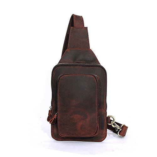 CHAO.P.J Leather Crossbody Chest Bag Shoulder Backpack Travel Rucksack Sling Bag by CHAO.P.J
