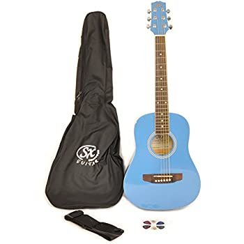 SX RSM 1 12 BBU LH 1/2 Size Left Handed Bubblegum Blue Acoustic Guitar Package, with Carry Bag, Strap, and Guitar Picks Included