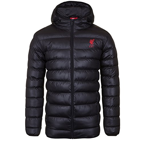 Liverpool FC Official Soccer Gift Mens Quilted Hooded Winter Jacket Black Med. (Liverpool Jacket Fc)