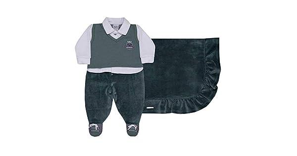 saída de maternidade menino plush verde sonho mágico 3 peças -p   Amazon.com.br  Amazon Moda f2dd8ce47ec