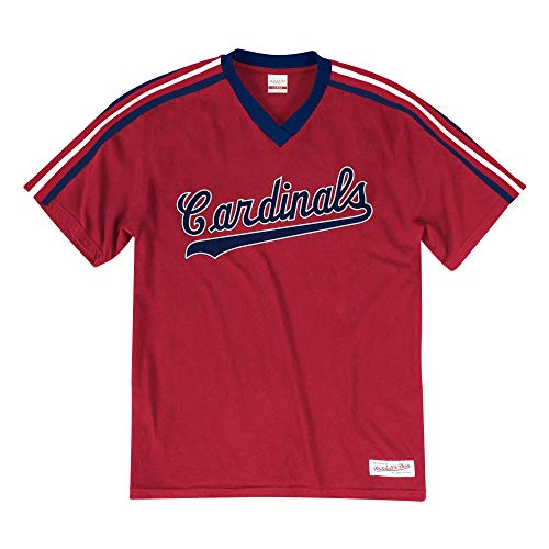 Mitchell & Ness St Louis Cardinals Men's Overtime Win Vintage V-Neck T-Shirt Red (Large)