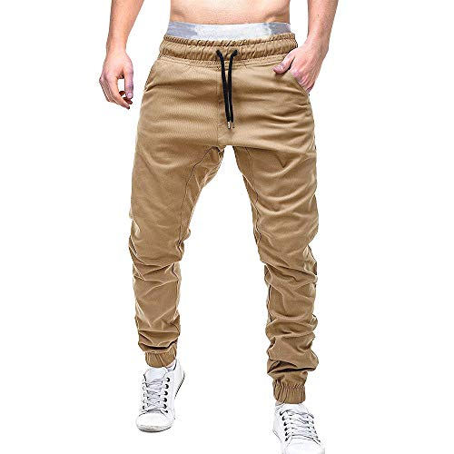 iTLOTL Men Sweatpants Slacks Casual Elastic Joggings Sport Solid Baggy Pockets Trousers(Khaki,2XL) ()